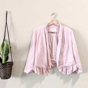 ANTHROPOLOGIE Ruffled Calin Blazer Baby Pink